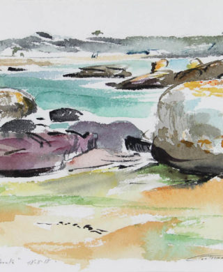 Trégastel, La baie de Sainte Anne depuis l'Ile Renote