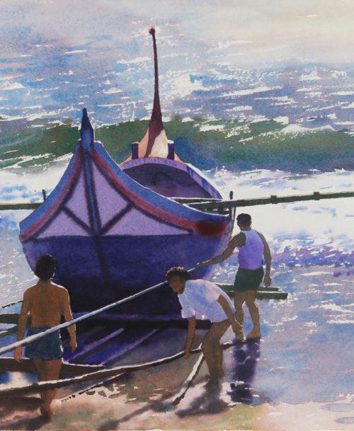 Barque de pêcheurs à Mira, Portugal