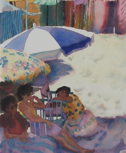 Femmes sur la plage, parasols et cabines