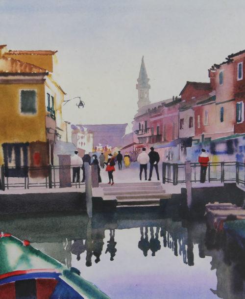 Venise, barques et maisons colorées