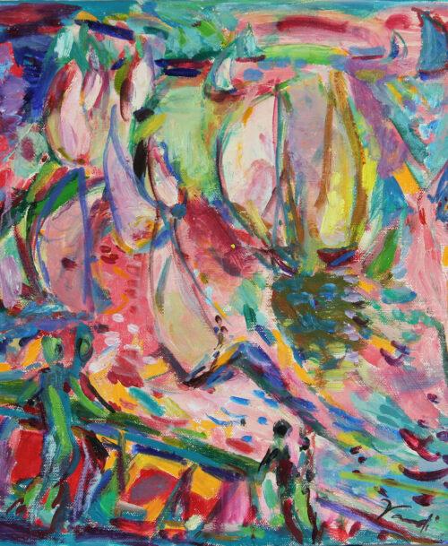 Voiles sur la mer rose