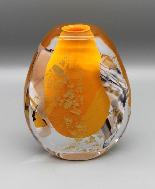 Vase orange avec incrustations d'or