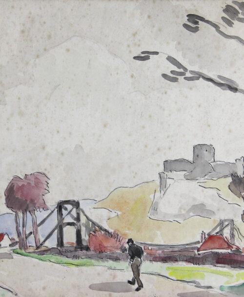 Les Andelys, le pont suspendu, 1936
